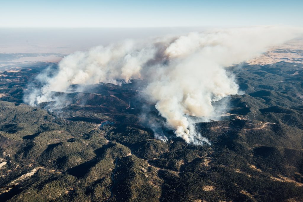 Aerial view of smoke from the fires in the hills below.