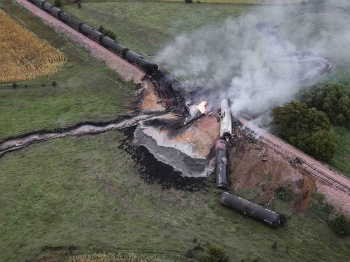 Aerial view of train derailment in a field.