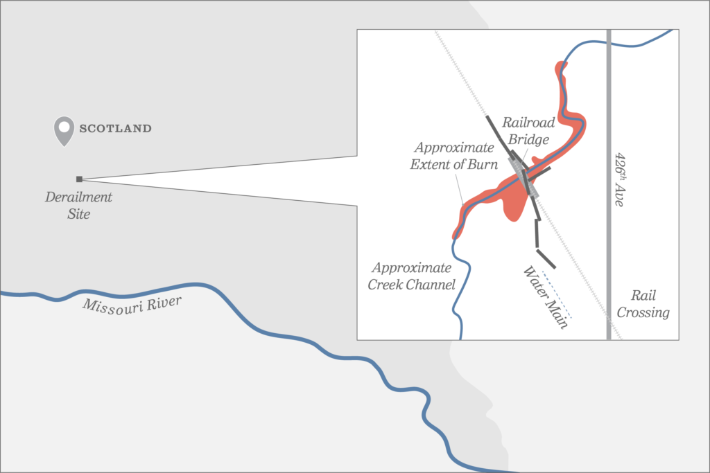 Map of train accident