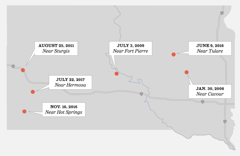 Recent train derailments on a map