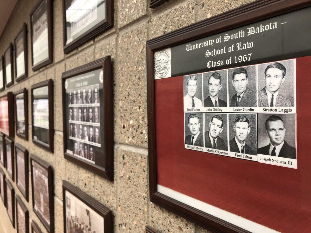 USD Law School class photos framed on wall